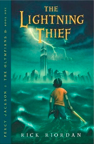 "Book cover for ""The Lightning Thief"" by Rick Riordan"