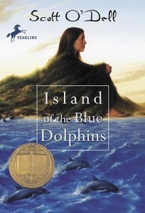 "Book cover for ""Island of the Blue Dolphins"" by Scott O'Dell"